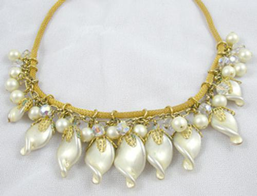 Bridal, Wedding, Special Occasion - Faux Pearl Twist Dangles Necklace
