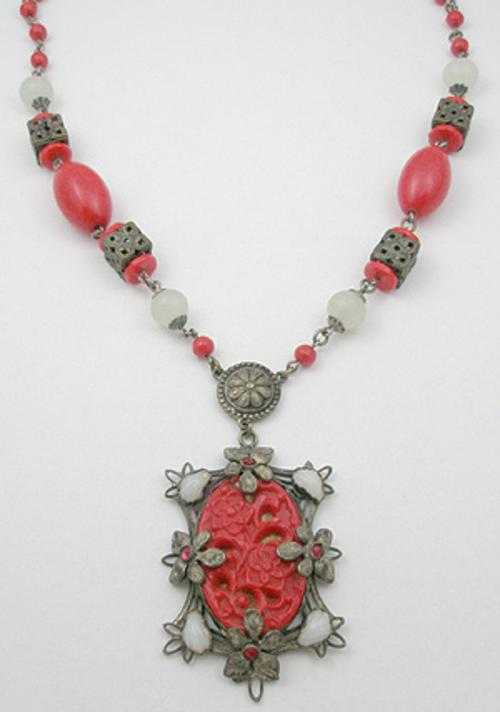 Czechoslovakia - Czech Red Molded Glass Necklace