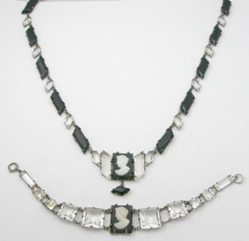 Sets & Parures - Black & White Glass Cameo Sterling Necklace Bracelet Set