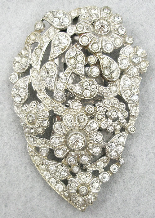 Dress & Fur Clips - Rhinestone Flowers & Leaves Dress Clip