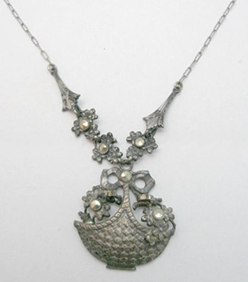 Art Deco - Marcasite Flower Basket Necklace