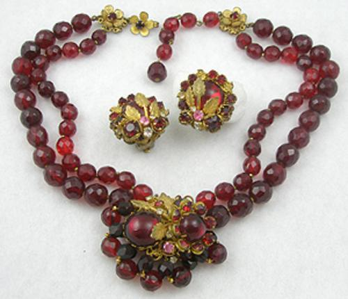 DeMario - DeMario Red Glass Bead Necklace Set