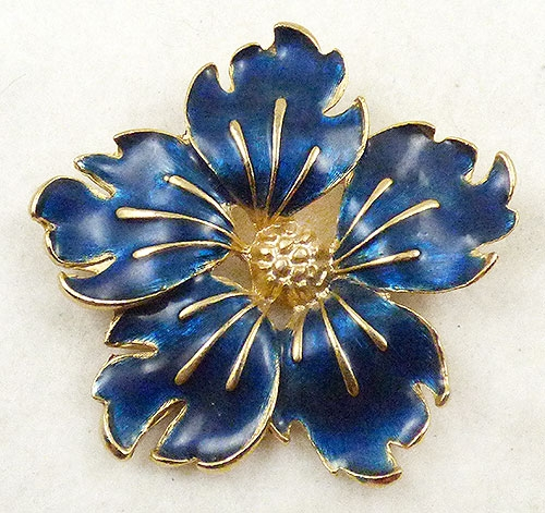 Florals - Blue Enamel Flower Brooch