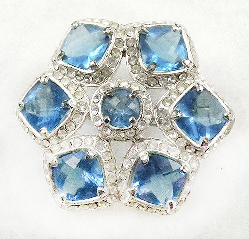 Newly Added Monet Blue Rhinestone Star Brooch