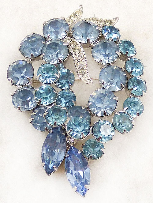 Newly Added Eisenberg Ice Aqua Light Blue Rhinestone Brooch