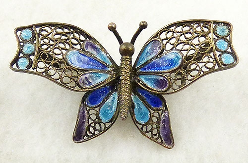 Figural Jewelry - Butterflies & Bugs - Enameled Filigree Butterfly Brooch