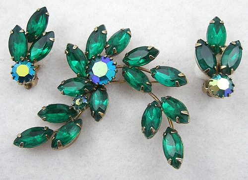 Sets & Parures - Green Navette Rhinestone Brooch Set