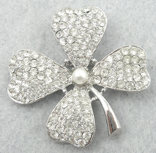 Brooches - Rhinestone 4-Leaf Clover Brooch