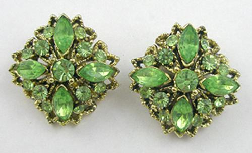 Earrings - Light Green Rhinestone Earrings