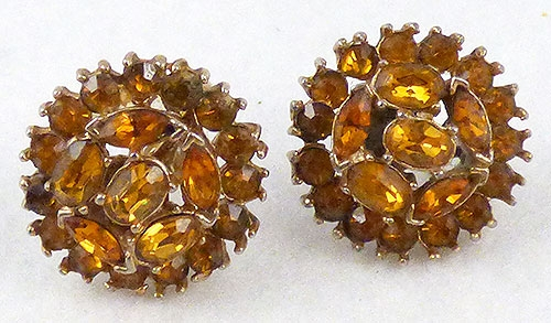 $25 or Less - Golden Topaz Rhinestone Earrings