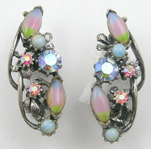 Spring Pastel Jewelry - Iris Navette Rhinestone Earrings