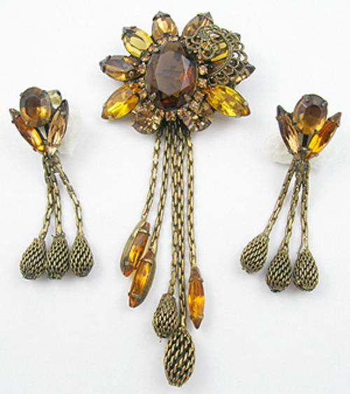 Autumn Fall Colors Jewelry - Topaz Rhinestone Dangling Chains Brooch Set