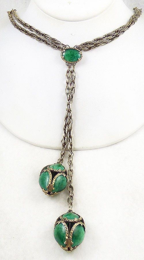 Newly Added Trifari Green Glass Lariat Necklace