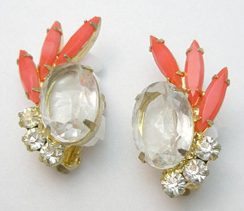 Newly Added DeLizza & Elster Clear & Orange Rhinestone Earrings