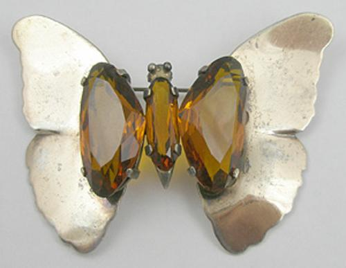 Newly Added Sterling Vermeil Topaz Butterfly Brooch