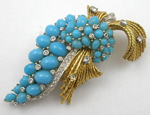 Newly Added Ciner Turquoise Cabachon Brooch