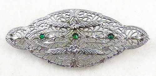 Brooches - Ostby and Barton Sterling Filigree Brooch