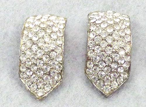 Dress & Fur Clips - Art Deco Pavé Rhinestone Dress Clips