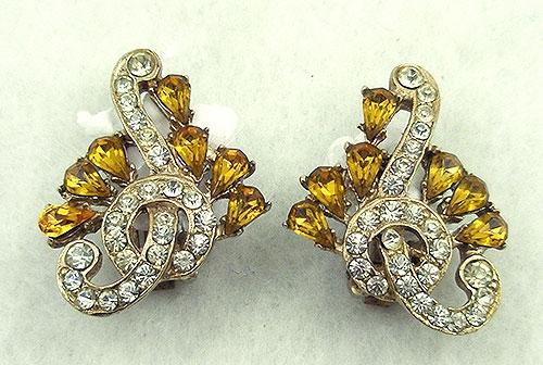 Earrings - Topaz & Celar Rhinestone Earrings