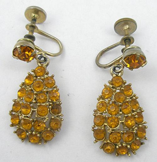 Earrings - Topaz Rhinestone Drop Earrings