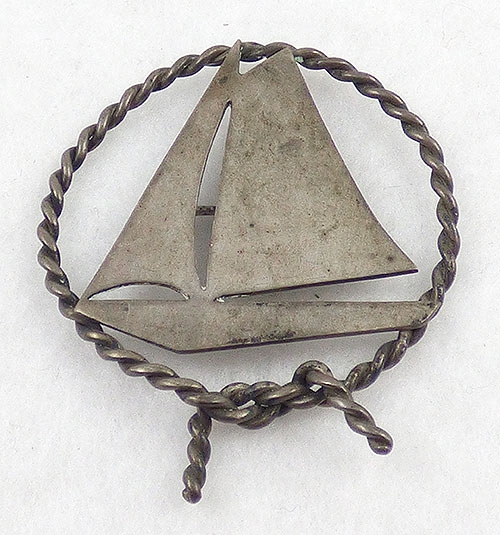 Figural Jewelry - Objects & Things - Signed LR Sterling Sailboat Brooch
