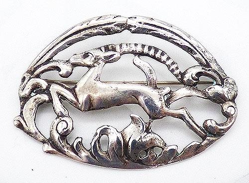 Sterling Silver - Sterling Silver Oval Antelope Brooch