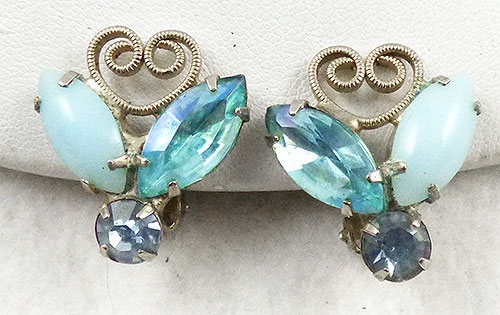 Earrings - DeLizza and Elster Aqua Heart Scroll Earrings