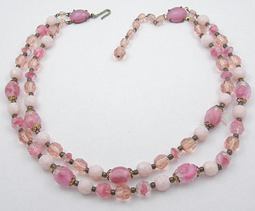 Crystal Bead Jewelry - Double Strand Pink Glass Bead Necklace