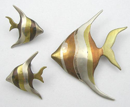 Sets & Parures - Los Castillo Married Metals Fish Brooch Set