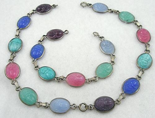 Bracelets - Vintage Glass Scarab Bracelets Set