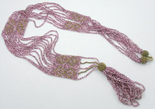 Art Deco - Lavender Glass Bead Flapper Necklace