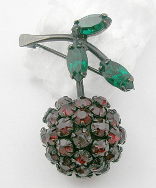 Fruits & Vegetables - Warner Rhinestone Cherry Brooch