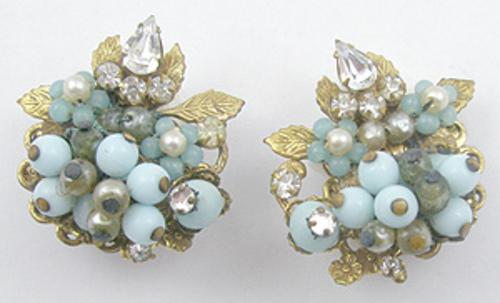 Earrings - Aqua Glass Bead Faux Pearl Clip Earrings