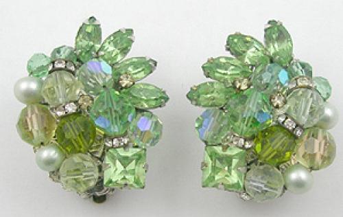 Eugene - Eugene Light Green Crystal & Rhinestone Earrings