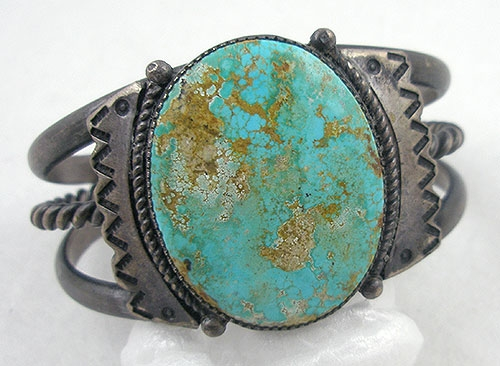 Semi-Precious Gems - Navajo Old Pawn Silver & Turquoise Bracelet