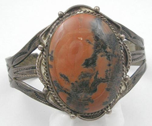 Newly Added Navajo Silver Petrified Wood Bracelet