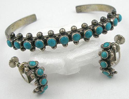 Sets & Parures - Navajo Sterling Turquoise Bracelet Set