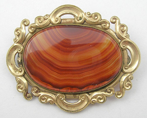 Brooches - Victorian Banded Agate Brooch