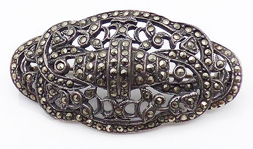 Newly Added Art Deco Sterling Marcasite Brooch
