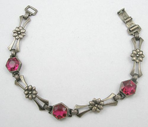 Bracelets - Art Deco Sterling Pink Glass Bracelet