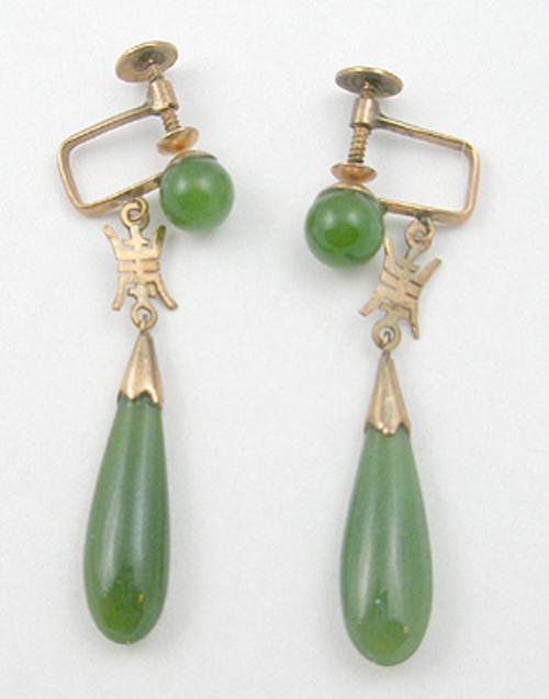 Newly Added 14K Gold Jade Earrings