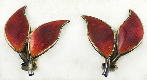 Newly Added Willy Winneass David Andersen Red Leaves Earrings