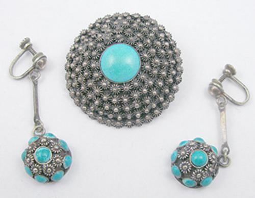 Sets & Parures - Mexican Sterling Cannetille Brooch Set