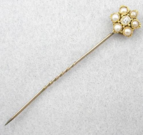Brooches - Victorian Sweetheart Pearl & Paste Stick Pin