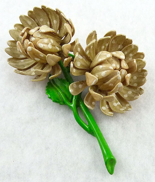 Florals - Tan Polka Dot Enamel Flower Brooch