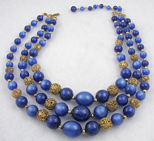 Necklaces - Blue Lucite Moonglow & Confetti Bead Necklace