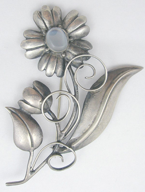 Newly Added Sterling Glass Moonstone Flower Brooch