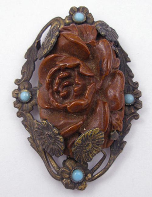 Dress & Fur Clips - Brown Bakelite Rose Brass Dress Clip