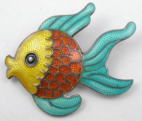 Margot de Taxco - Margot de Taxco Enameled Sterling Fish Broosh
