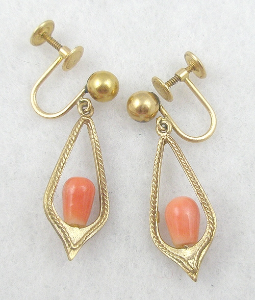 Newly Added 14K Gold Coral Earrings
